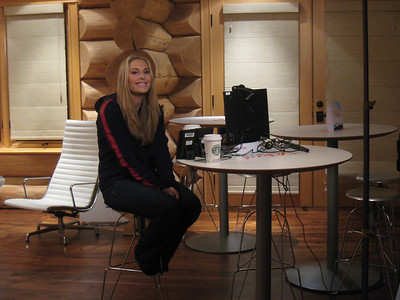 Lindsey Vonn smiles before going on live with Oprah via Skype from Whistler (Doug Haney/U.S. Ski Team)