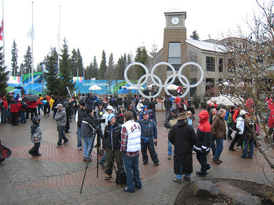 The scene outside the medals plaza in downtown Whistler (Doug Haney/U.S. Ski Team)