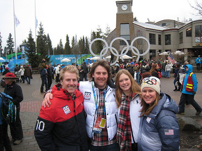 Ted Ligety, Will Brandenburg, Kaylin Richardson and Ted Ligety after filming with MTV at the 2010 Olympic Winter Games in Whistler (Doug Haney/U.S. Ski Team)