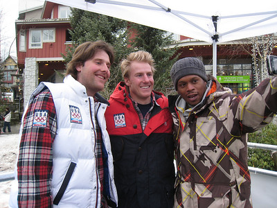 Will Brandenburg and Ted Ligety film with MTV News Correspondent Sway at the 2010 Olympic Winter Games in Whistler (Doug Haney/U.S. Ski Team)