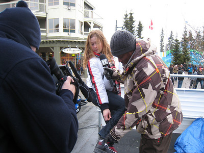 Kaylin Richardson films with MTV News Correspondent Sway at the 2010 Olympic Winter Games in Whistler (Doug Haney/U.S. Ski Team)