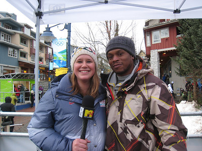 Alice McKennis films with MTV News Correspondent Sway at the 2010 Olympic Winter Games in Whistler (Doug Haney/U.S. Ski Team)