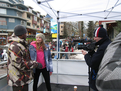 Julia Mancuso films with MTV News Correspondent Sway at the 2010 Olympic Winter Games in Whistler (Doug Haney/U.S. Ski Team)