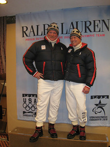 "Pete Lavin (AKA ""Baby Huey"") and Dr. Terry Orr in the Opening Ceremonies Marching uniform by Polo (Doug Haney/U.S. Ski Team)"