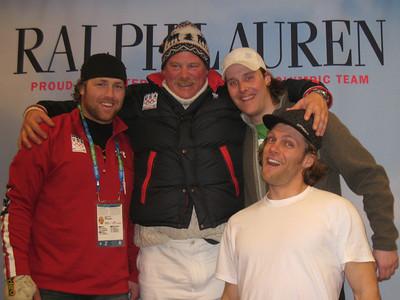 "(l-r) Erik Fisher, Pete Lavin (AKA ""Baby Huey""), Will Brandenburg and Steven Nyman at Team Processing (Doug Haney/U.S. Ski Team)"