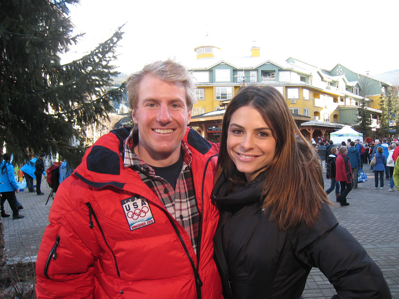 Ted Ligety and Maria Menounos of NBC's Access Holleywood in Whistler Village (Doug Haney/U.S. Ski Team)