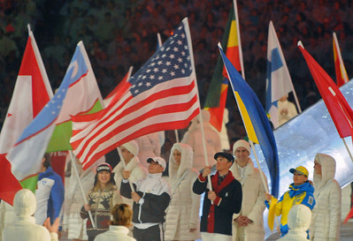 American flagbearer Billy Demong proudly waves the flat at the Closing Ceremony of the 2010 Vancouver Olympic Winter Games. (Tom Kelly)