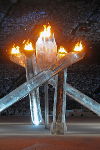 The Olympic cauldron is aflame as fans pack BC Place for the Closing Ceremony of the 2010 Vancouver Olympic Winter Games. (Tom Kelly)