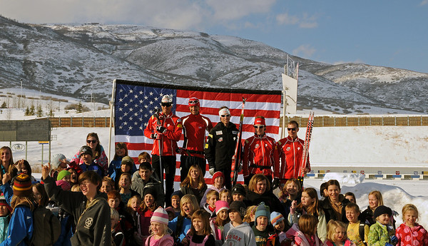 Members of the U.S. Olympic Nordic Combined Ski Team take part in a groundbreaking ceremony for new buildings at the Soldier Hollow Olympic venue for joint use with the Soldier Hollow Charter School. (USSA/Elizabeth Karam)