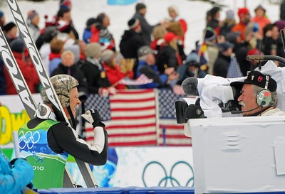 American Todd Lodwick pumps his fist after a strong jump en route to a silver medal for Team USA at Olympic Nordic Combined Team event. (U.S. Ski Team/Tom Kelly)