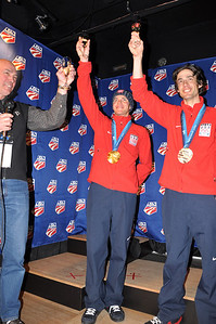 USSA COO and Executive Vice-President, Dick Coe, toasts Billy Demong and Johnny Spillane's success. Spyder U.S. Ski Team House, Whistler, BC 2010 Olympic Winter Games  Photo: Katie Perhai/USSA