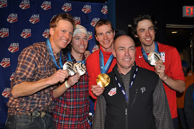 Brett Camerota, Billy Demong, Todd Lodwick and Johnny Spillane, Nordic Combined team event silver medalists, with USSA COO, Dick Coe Spyder U.S. Ski Team House, Whistler, BC 2010 Olympic Winter Games  Photo: Katie Perhai/USSA