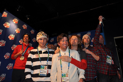 The Nordic Combined team and staff celebrate the success of the Team's success at the Olympic Winter Games. Spyder U.S. Ski Team House, Whistler, BC 2010 Olympic Winter Games  Photo: Katie Perhai/USSA