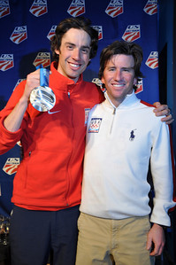 Johnny Spillane with Nordic Combined head coach, Dave Jarrett Spyder U.S. Ski Team House, Whistler, BC 2010 Olympic Winter Games  Photo: Katie Perhai/USSA