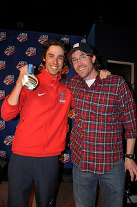 Johnny Spillane with Nordic Combined PT, Aaron Saari Spyder U.S. Ski Team House, Whistler, BC 2010 Olympic Winter Games  Photo: Katie Perhai/USSA