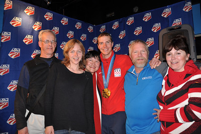 Billy Demong with his family Spyder U.S. Ski Team House, Whistler, BC 2010 Olympic Winter Games  Photo: Katie Perhai/USSA