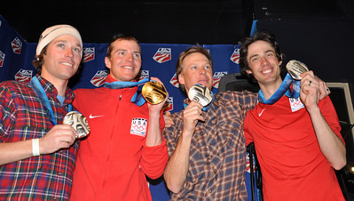 Brett Camerota, Billy Demong, Todd Lodwick and Johnny Spillane, Nordic Combined team event silver medalists Spyder U.S. Ski Team House, Whistler, BC 2010 Olympic Winter Games  Photo: Katie Perhai/USSA