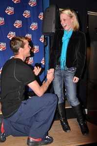 Billy Demong proposes to his girlfriend Spyder U.S. Ski Team House, Whistler, BC 2010 Olympic Winter Games  Photo: Katie Perhai/USSA
