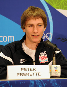 Olympian Peter Frenette at the U.S. Olympic Ski Jumping Team arrival press conference at the Main Press Center in Vancouver. (USSA/Tom Kelly)