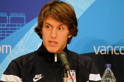 Olympian Anders Johnson at the U.S. Olympic Ski Jumping Team arrival press conference at the Main Press Center in Vancouver. (USSA/Tom Kelly)