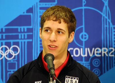 Olympian Nick Alexander at the U.S. Olympic Ski Jumping Team arrival press conference at the Main Press Center in Vancouver. (USSA/Tom Kelly)