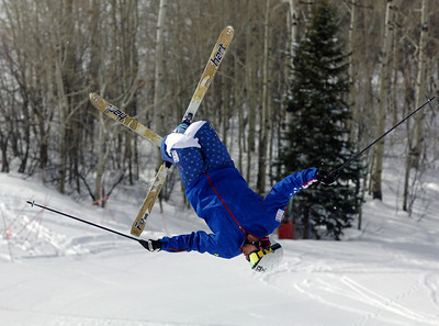 Patrick Deneen flips in pre-Olympic moguls training camp on Voo Doo in Steamboat Springs, Colorado. Photo: Steamboat