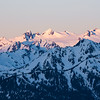 First light across the Olympic Mountains