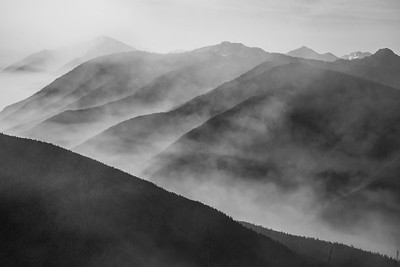 Smoke from forest fires add striking contrast to the Hurricane Ridge area