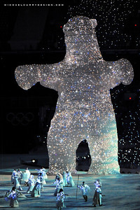 POLY2001-SpiritBear2601.jpg: The Kermode or Spirit Bear looms large at the Opening Ceremony of the XXI Olympic Winter Games on Feb. 12 at BC Place stadium in Vancouver, British Columbia, Canada. The Provincial Government in 2006 began moves to have the Spirit Bear declared the official animal of British Columbia. Photo by Tim Hipps, FMWRC Public Affairs