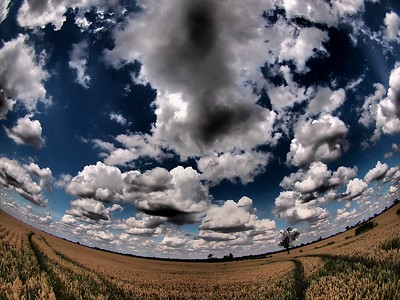 02 August 2011. Summer sun sizzles the Sth Leics countryside ripening the crops. A great opportunity to capture a sky full of glorious cumulus and almost 3D looking. This is thanks to the dramatic tone art filter. Looked great combo'd with the 8mm fisheye. Oly E5, 8mm.