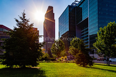 First National Bank of Omaha with the sun. Union Pacific Railroad headquarters to the right