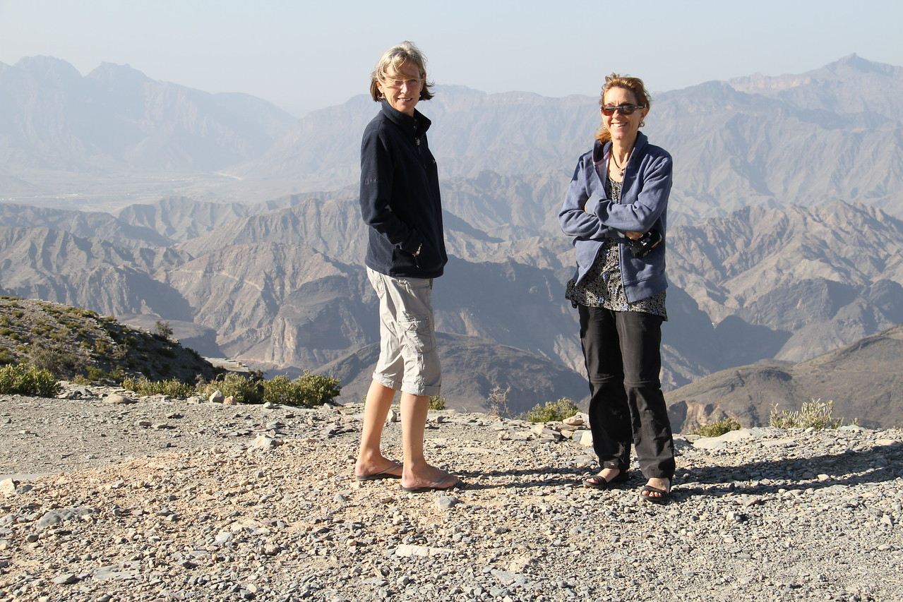 Heather and Nicky looking over the Hadjar mountains