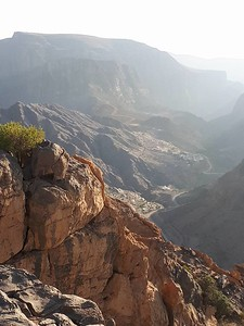 Looking down to the valley floor Jebel Akhdar, Oman.
