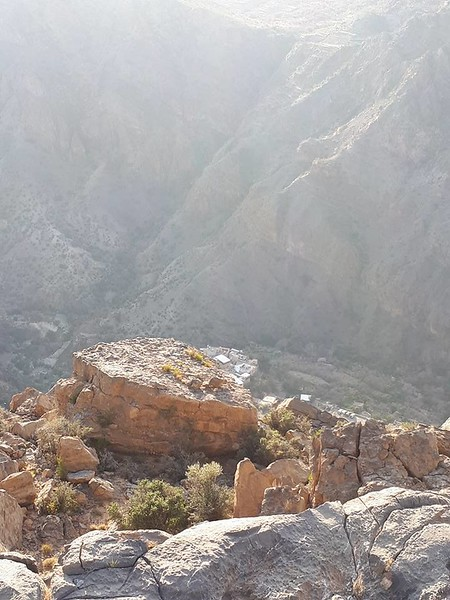 Looking downhill to the valley floor at Anatara on the ridge line at Jebel Akhtar.