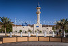 The Hamza bin Abdol Motallib mosque with decorative water fountains in the city of Muscat, Oman.