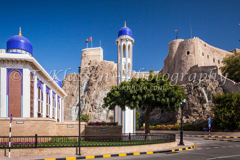 The Al Khawr mosque near the Al Mirani Fort in Muscat, Oman.