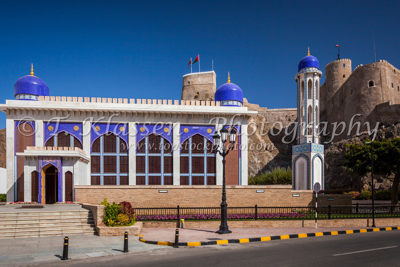 The Al Khawr mosque near the Al Mirani Fort in Muscat, Oman.
