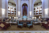 Interior lobby and fountain of the Al Bustan Palace Hotel and resort near Muscat, Oman.