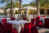 Outdoor gardens and patio at the Barr Al Jissah resort near Muscat, Oman.