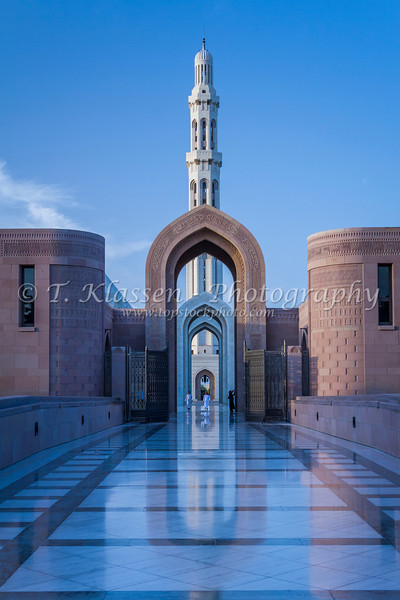 The Grand Mosque with minarets in Muscat, Oman.