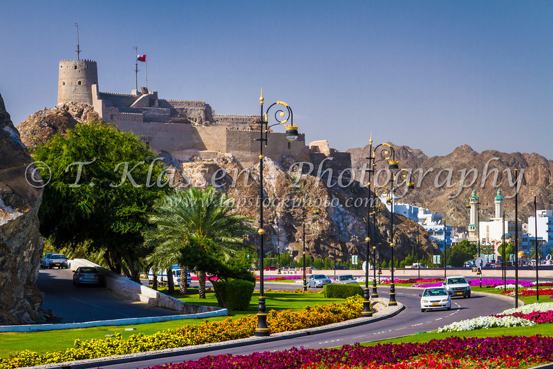 The Al Muttrah fort facing the harbour at Muscat, Oman.