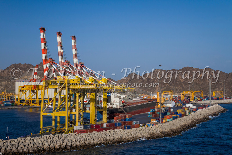 Container loading cranes in the port city of Muscat Oman.