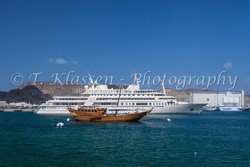The Sultan of Oman's yacht in the port at Muscat, Oman.