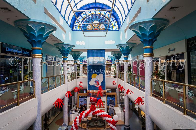 Interior of a shopping center on Intercontinetal Boulevard near Muscat, Oman.