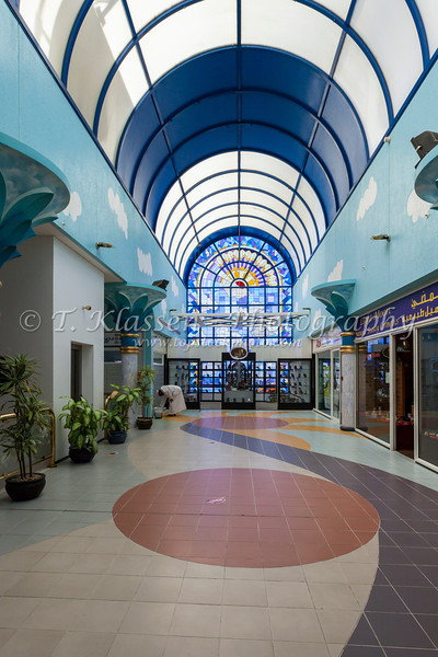 Interior of a shopping center on Intercontinetal Boulevard near Muscat, Oman.