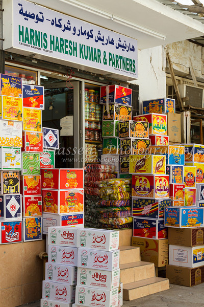 The Muttrah souq market shops in Muscat, Oman.
