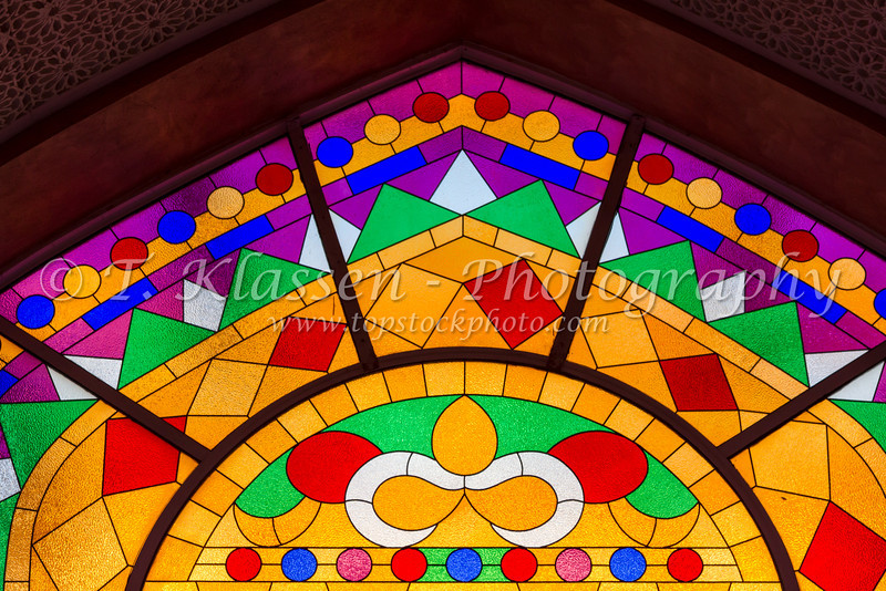 A decorative glass window in the Muttrah souq market of Muscat, Oman.