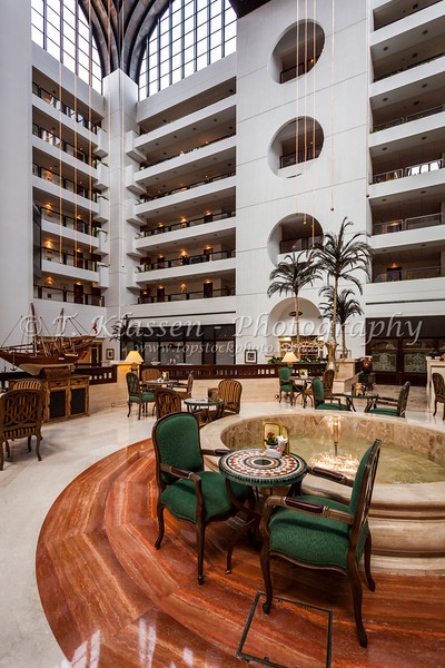 Interior architecture of the Intercontinental Hotel in Muscat, Oman.