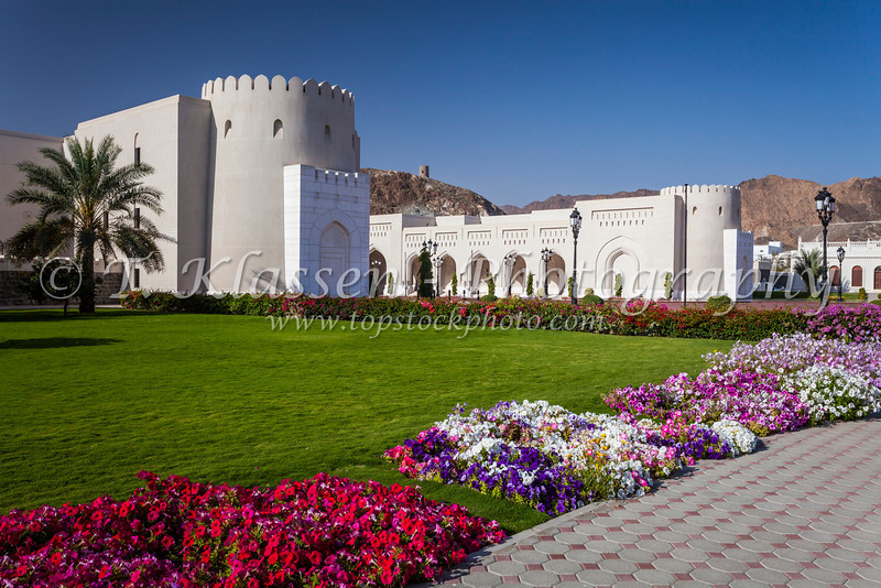 The Ministry of finance buildings near the Al Alam Royal Palace in Muscat, Oman.