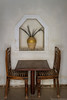 Table and chairs in the Fort restaurant in Nizwa, Sultanate of Oman.